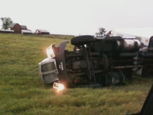 Another semi blown over on I-380 near Urbana