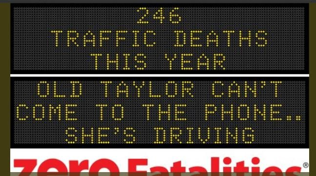 Swift lyrics used on road safety signs