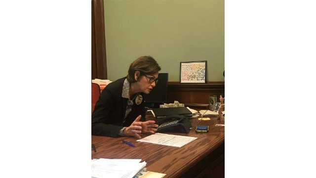 Gov. Reynolds speaks with President Trump over the phone Wednesday (Twitter/@IAGovernor)