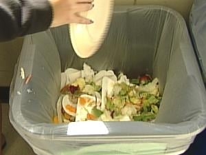 Students at Roosevelt Middle School compost their lunchtime table scraps