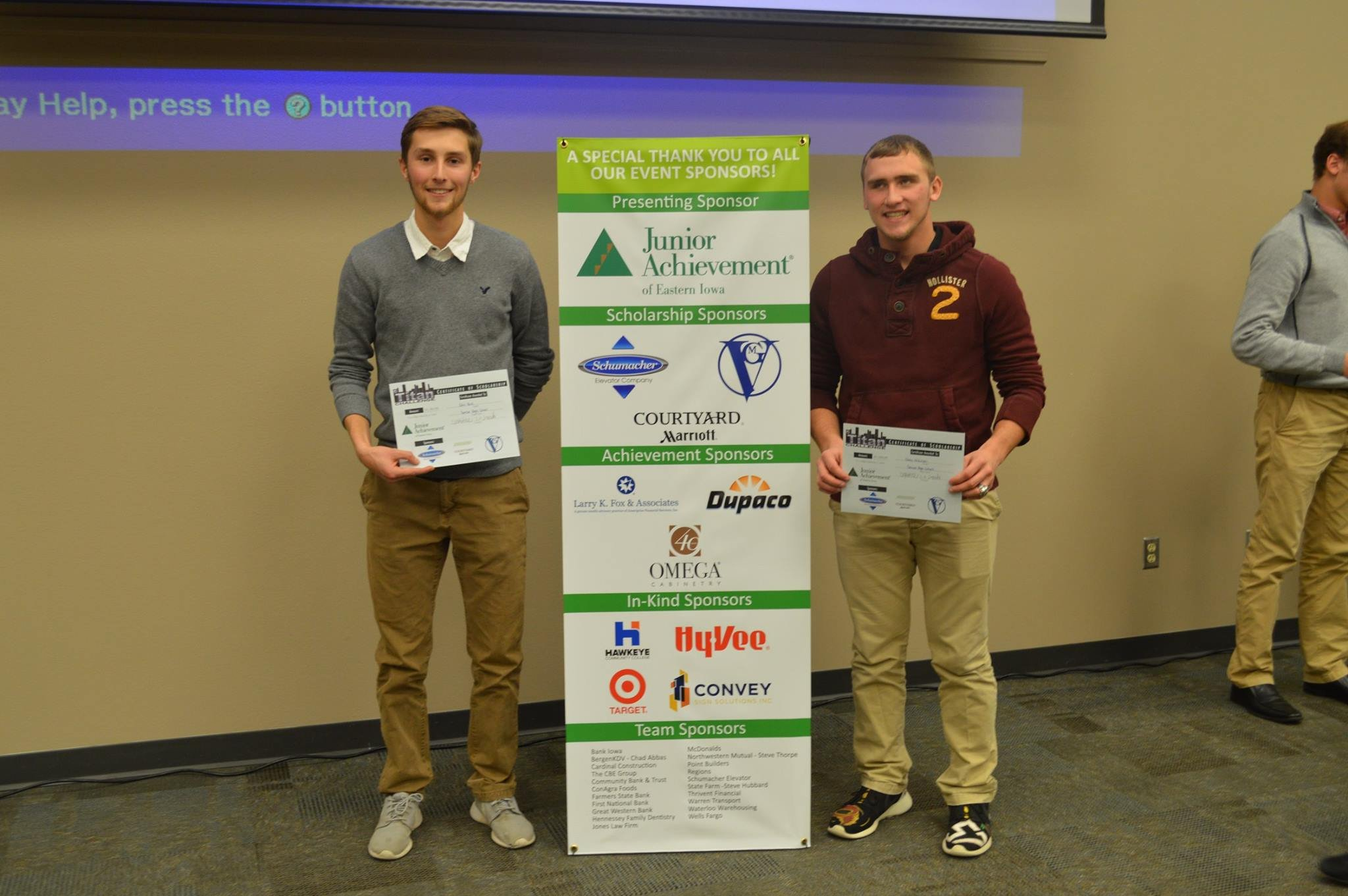 Pictured from left: 1st place winners, Colin Beck and Casey Anderson from Denver High School