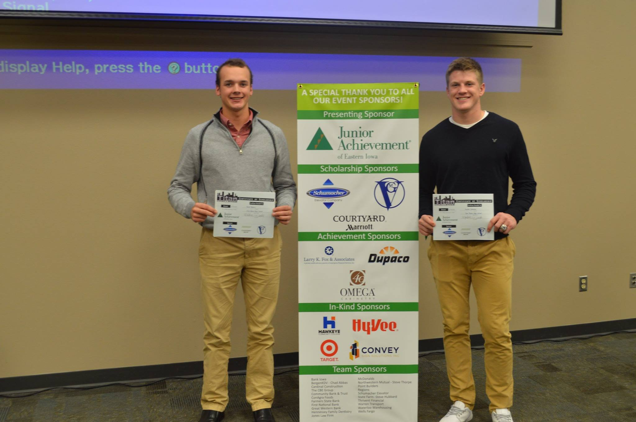 Pictured from left: 2nd place winners, Trevor Brown and  Austin Svoboda from Don Bosco High School
