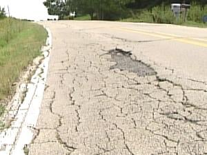 A damaged section of Swiss Valley Road