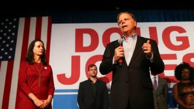 (AP Photo/John Bazemore). Democratic candidate for U.S. Senate Doug Jones speaks during a rally Monday, Dec. 11, 2017, in Birmingham, Ala.