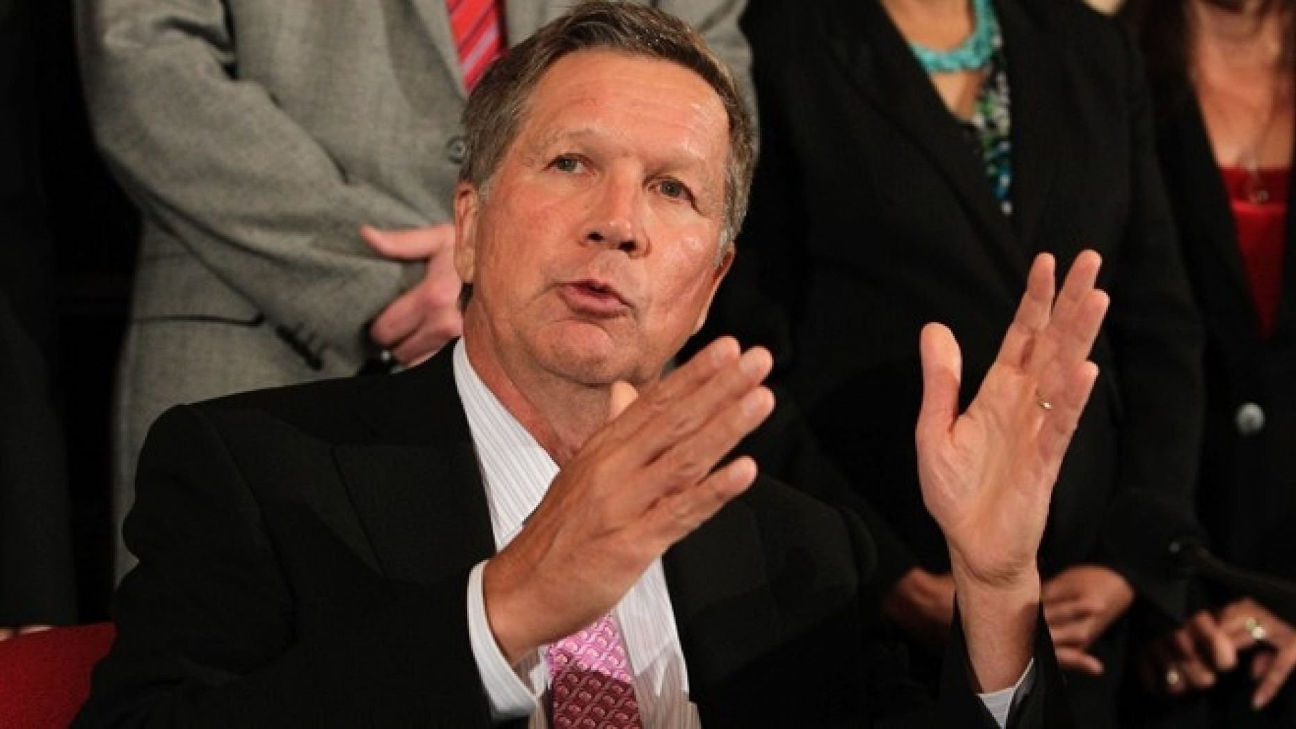 Gov. John Kasich has signed a Ohio bill into law that would ban doctors from performing abortions after a fetal diagnosis of Down syndrome.  (AP Photo/Jay LaPrete)