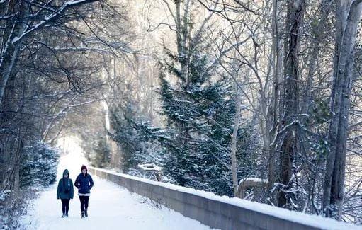 (AP Photo/Mark Humphrey). Brooke Meadows, left, and Alex Ondrus go for a walk in Radnor Lake State Park, Tuesday, Jan. 16, 2018, in Nashville, Tenn.