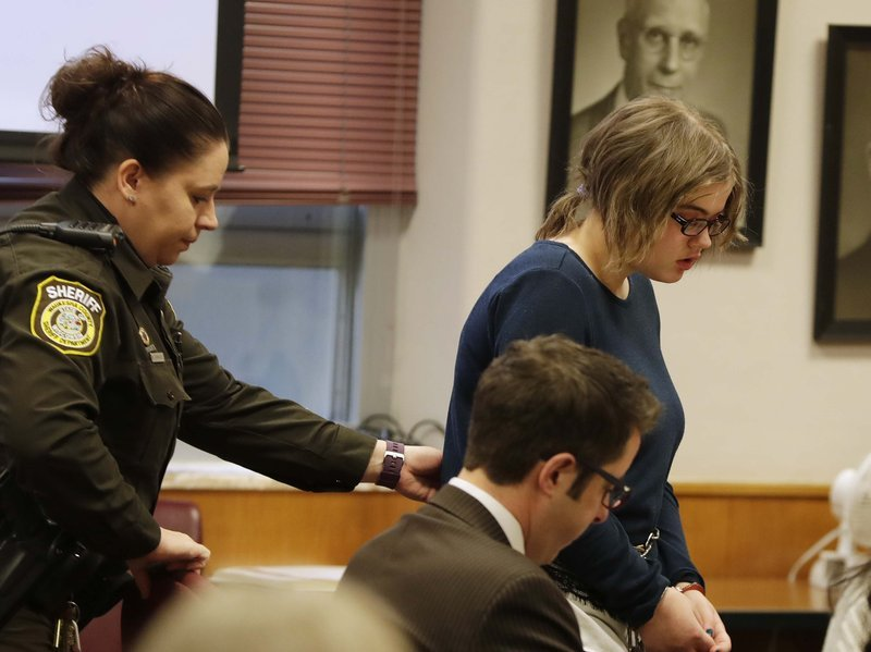 Morgan Geyser, 15, appears for sentencing before Waukesha County Circuit Judge Michael Bohren, Thursday, Deb. 1 2018 in Waukesha, Wis. (Rick Wood/Milwaukee Journal-Sentinel via AP, Pool)