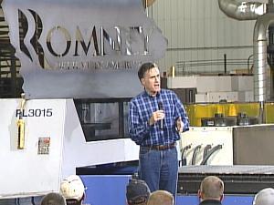 Republican presidential nomination candidate Mitt Romney speaking Monday in Dubuque