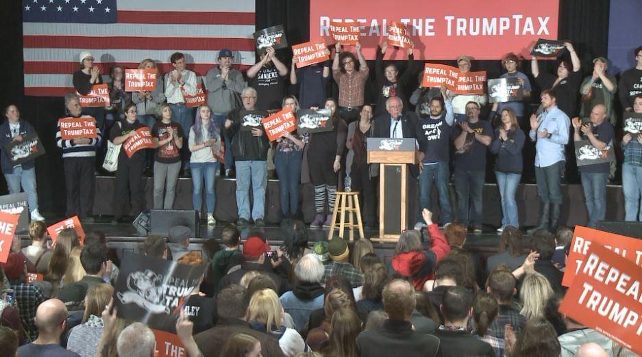 Bernie Sanders addressing fired up crowd
