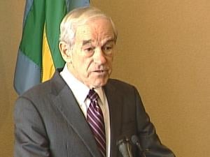 Ron Paul spoke Thursday in Dubuque, at the Grand River Center.