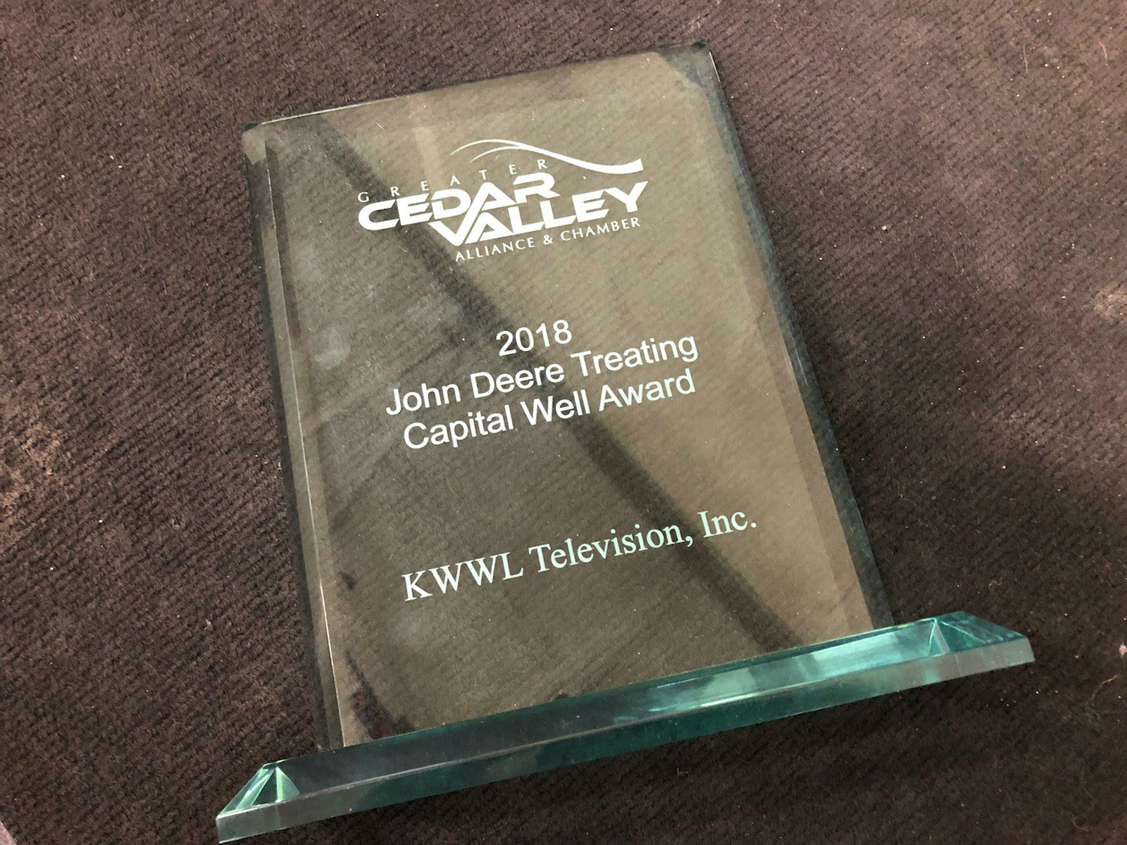 KWWL was awarded the John Deere Treating Capital Well Award on Tuesday night in Waterloo.