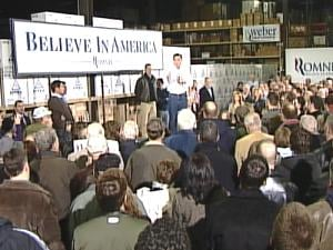 Mitt Romney addresses a crowd of more than 300 people Monday in Dubuque