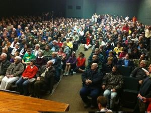 More than 600 people gathered at Beckman High School in Dyersville