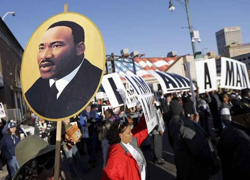 (AP Photo/Mark Humphrey). People gather for events commemorating the 50th anniversary of the assassination of the Rev. Martin Luther King Jr. on Wednesday, April 4, 2018.