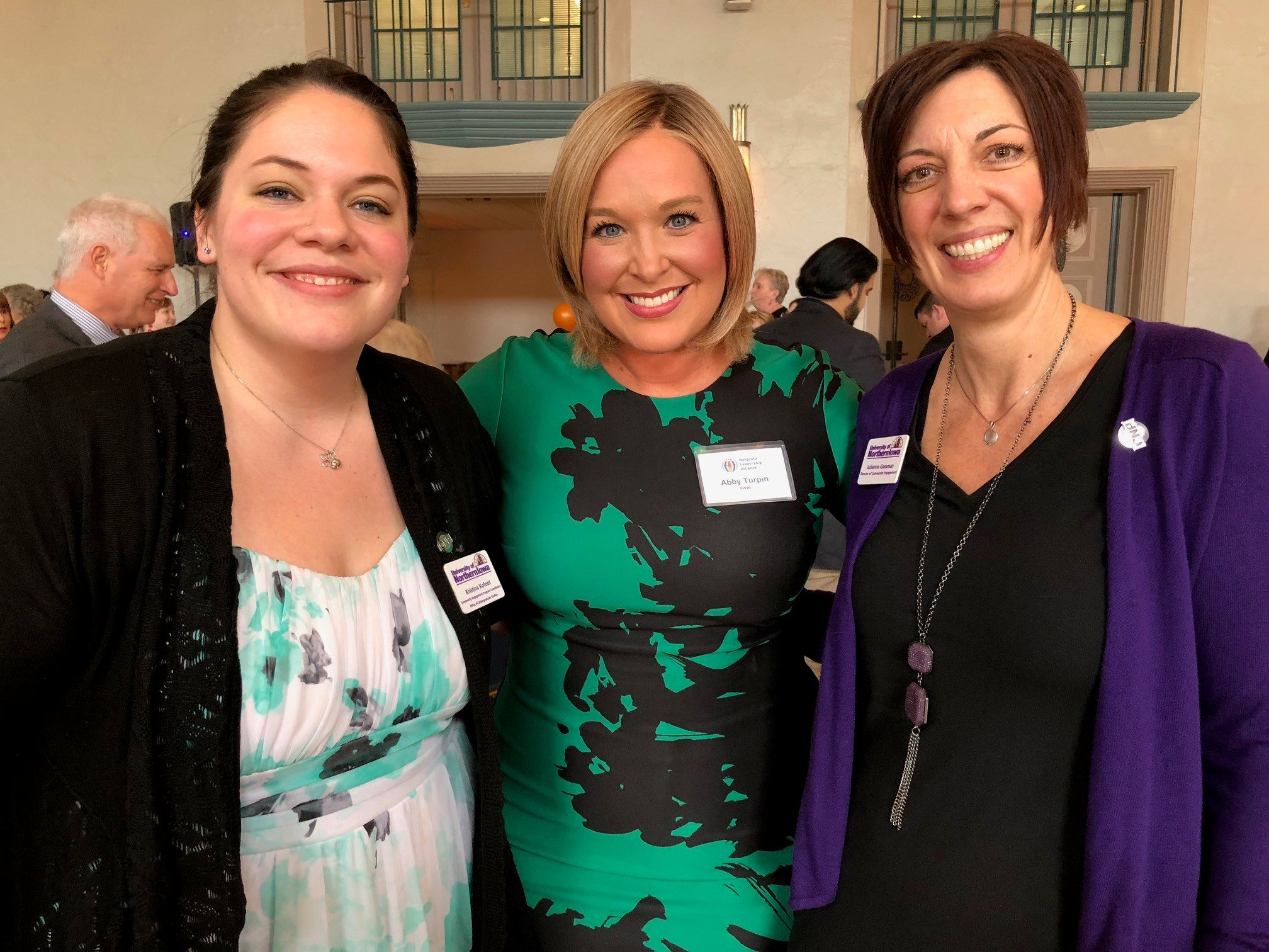 UNI's Comm. Engagement Coordinator Kristina Kofoot, KWWL's Abby Turpin and Julianne Gassman, Campus Executive Director of the Nonprofit Leadership Alliance