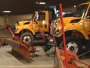 City of Dubuque snowplows sit dormant this winter