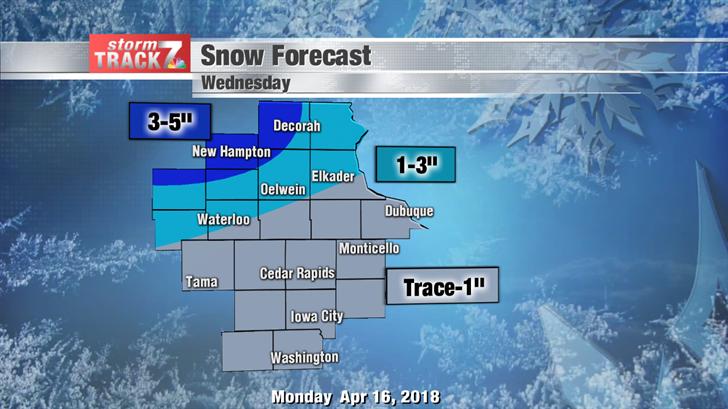Snowfall Forecast Wednesday