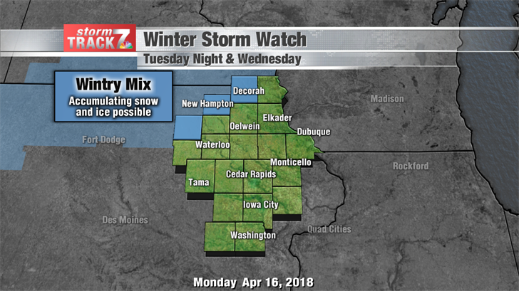 Winter Storm Watch Tuesday Night & Wed.