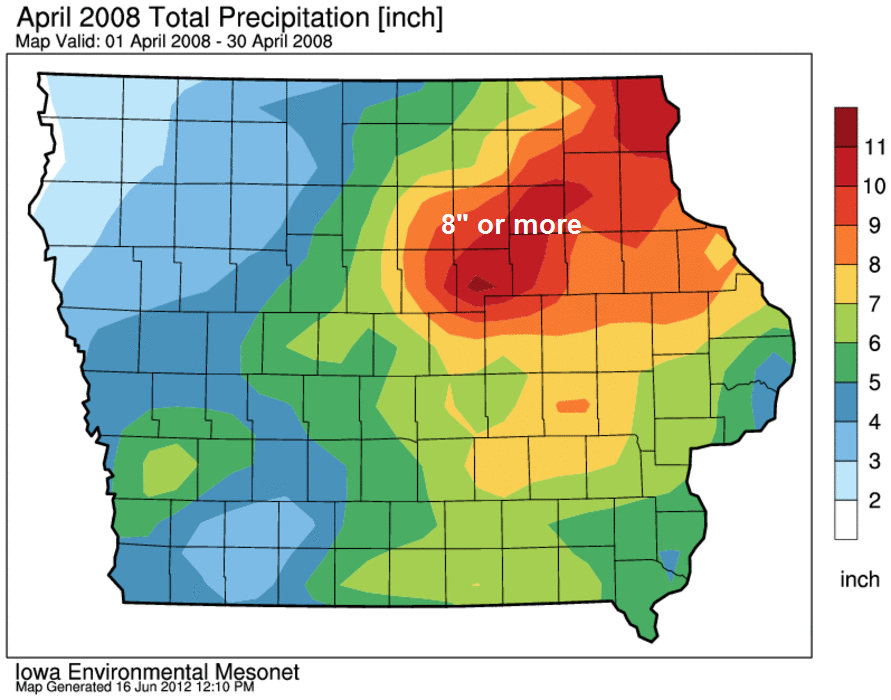 Rainfall from April 2008 showing the heaviest rains in the watershed of most rivers in the KWWL viewing area.