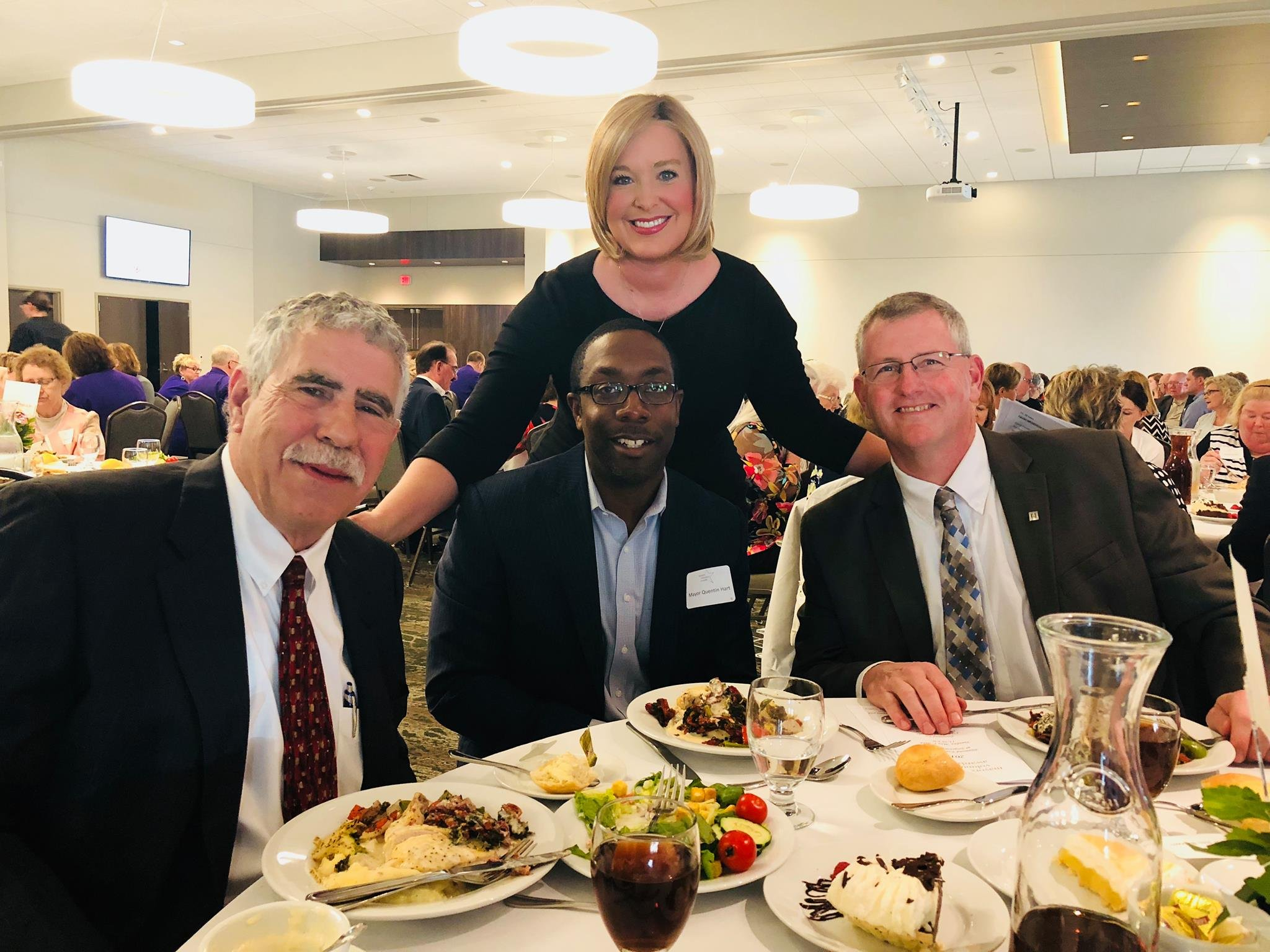 Mayors Faas, Hart and Brown with KWWL's Abby Turpin
