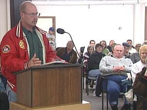 Matt Mescher addresses the Dyersville City Council Tuesday evening