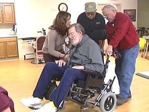 78-year-old Air Force veteran Bruce Breneman relaxes into his new wheelchair