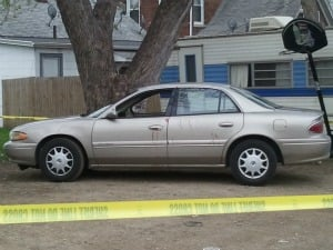 The blood-stained car the victim's aunt used to drive her nephew to help