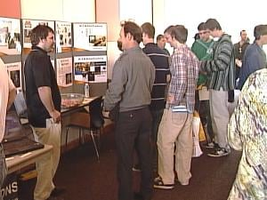 Representatives from 16 companies gathered at Northeast Iowa Community College Thursday for an advanced manufacturing job fair