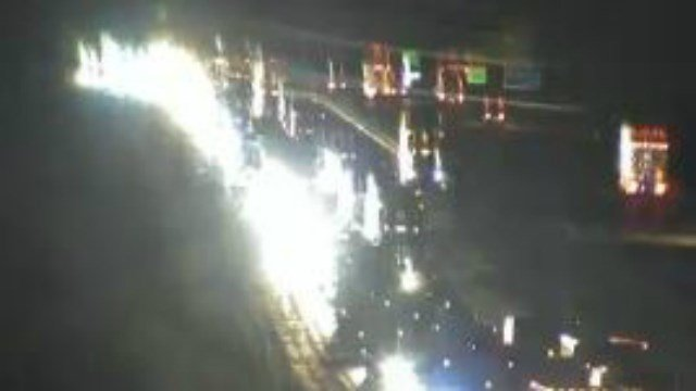 As of 9:15 p.m. Wednesday, traffic traveling east remained backed up along Interstate 80 following an accident (Iowa Department of Transportation camera)