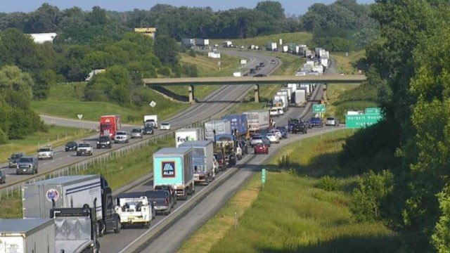 Traffic was also slow-moving at 6:14 p.m. Wednesday along Interstate 80 (Iowa Department of Transportation camera)