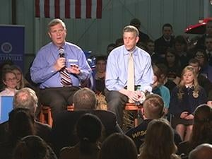 U.S. Secretary of Agriculture Tom Vilsack and U.S. Secretary of Education Arne Duncan speak to a crowd at UW Platteville Wednesday