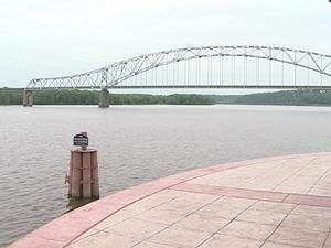 The Mississippi River was just below 10 feet and dropping Sunday afternoon. Flood stage is 17 feet.