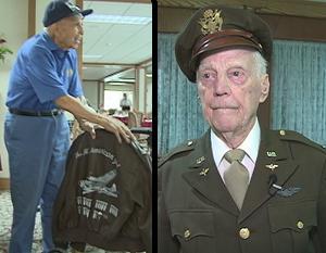 WWII veterans Joe Griego, 91, and Al Mescher, 95, honor fallen veterans with their clothes
