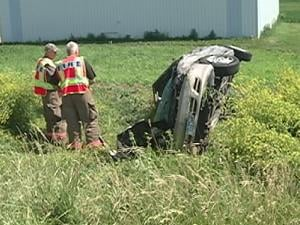 A crash Tuesday afternoon injured three and slowed eastbound traffic on Highway 20 east of Peosta