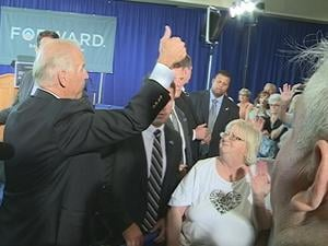 Biden spoke to more than 500 people at Dubuque Grand River Center Wednesday