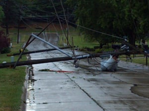 Downed power lines in Belle Plaine