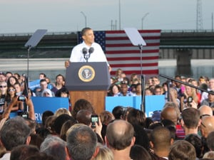 President Obama speaks at the Riverloop Amphitheatre in downtown Waterloo on Tuesday.
