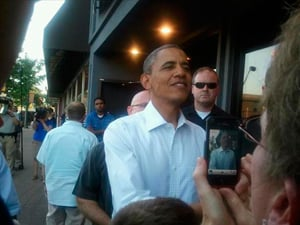 The President stopped at Pump Haus in Cedar Falls before his campaign event Tuesday evening.