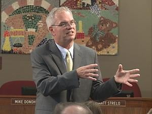 Dubuque superintendent candidate Michael Houselog addresses a crowd at the district headquarters Wednesday