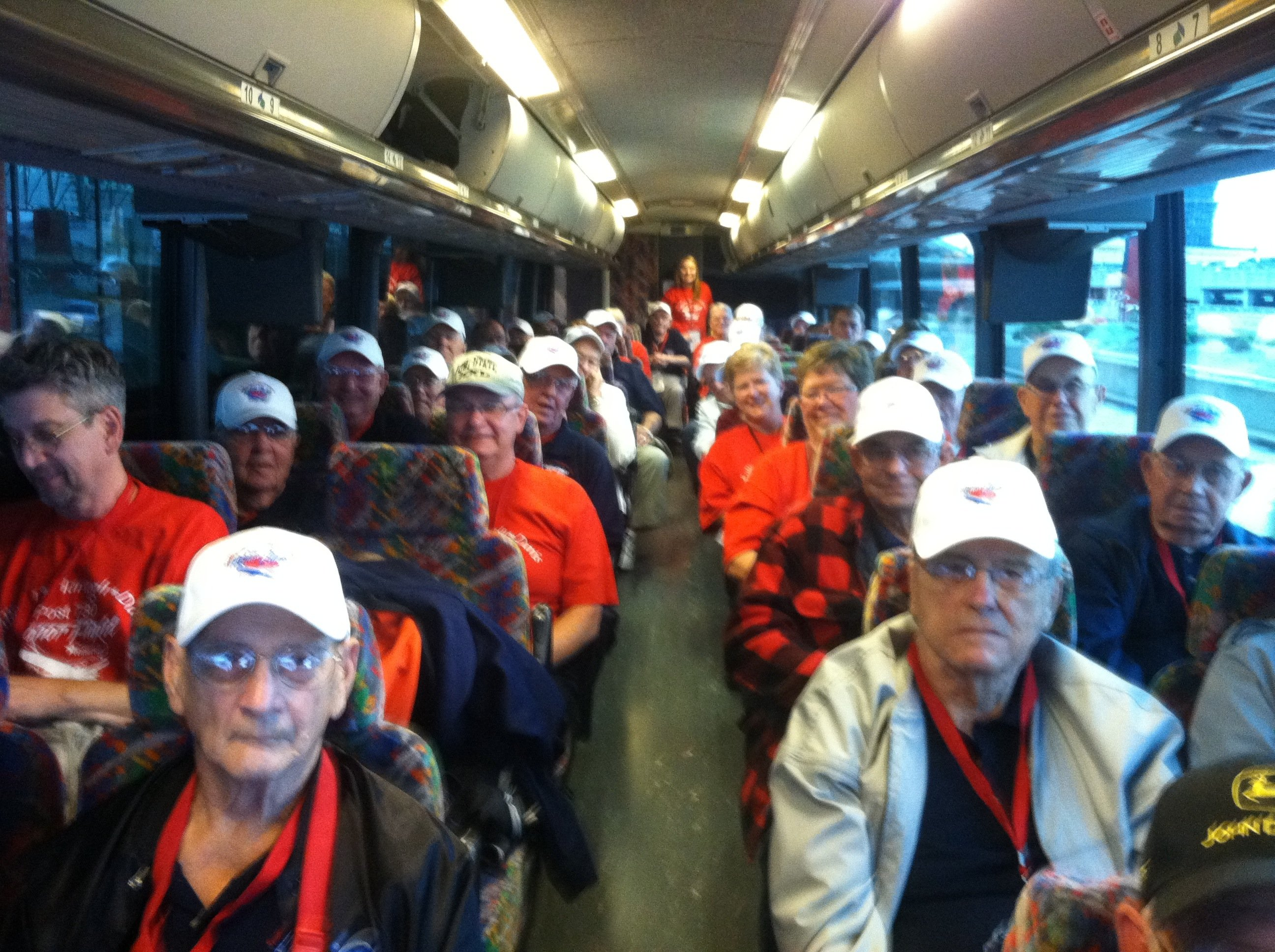 Iowa Honor Flight veterans on the bus in DC, heading out Tuesday to visit memorials