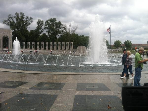 Iowa Honor Flight veterans visit the WWII memorial in Washington DC Tuesday