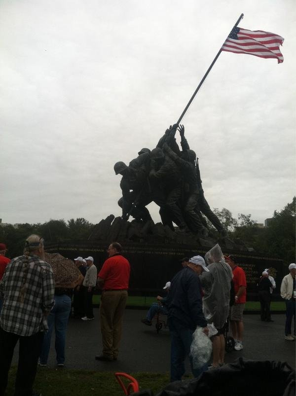 Iowa Honor Flight vets tour the Iwo Jima memorial in Washington, DC