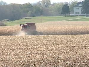 Gary Lahr harvested his corn fields Tuesday afternoon in Dubuque County.