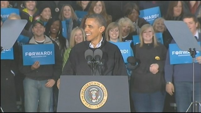 President Obama speaks in Washington Park Saturday evening.