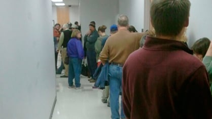 The line of voters at Cedar Falls City Hall on Tuesday evening.