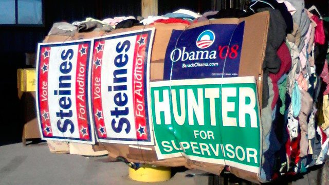 Winneshiek County will accept campaign signs for recycling. The signs can come from anywhere.