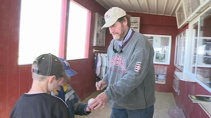 Wade Boggs signed autographs for people at the Field of Dreams movie site Thursday morning