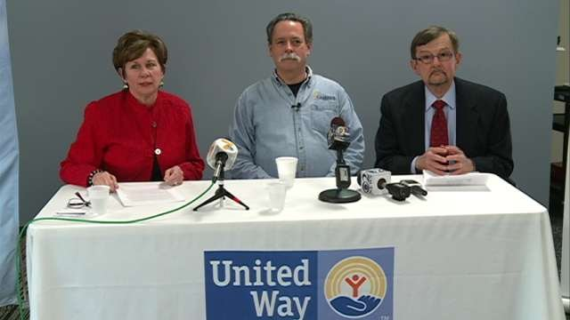 At a press conference Wednesday, Kelly Mulford donates $75,000 to United Way.