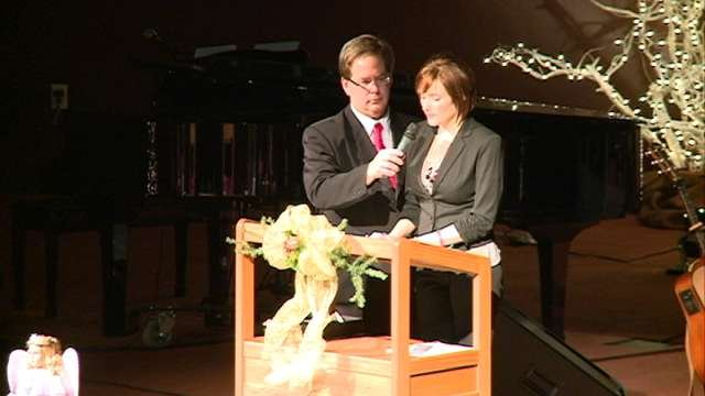 Heather Collins spoke about her family's faith during her daughter's memorial service.