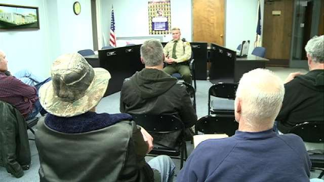Sheriff Thompson addressed a group of eight people during Tuesday's town hall meeting in Evansdale.